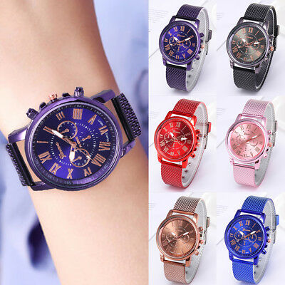 Fashion Women Geneva Roman Watch Leisure Mesh Band Analog Quartz Wrist Watch New