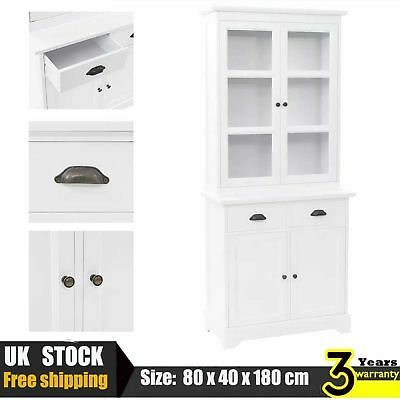 Welsh Dresser with 4 Doors & 2 drawers MDF and Pinewood Storage Cabinet White UK