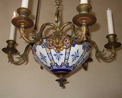 ANTIQUE  FRENCH  CHURCH , SANCTUARY CANDLE AND INCENSE  CHANDELIER 18th CENTURY