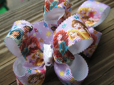 """Hair Bows Two Med 2""""Purple Princess, Brave, Belle, Jasmine and the other bow USA"""