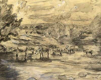 Vernon Wethered, Cattle in Stream - Original early 20th-century watercolour