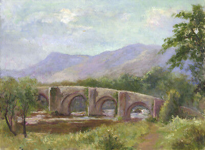 Eva Walbourn, Landscape Bridge View - Original early 20th-century oil painting