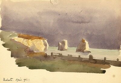 E.F.L., Stag & Arch Rocks Freshwater, Isle of Wight - 1892 watercolour painting