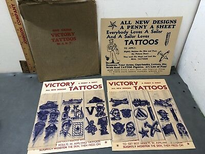 Vintage 1943 WWII Military Victory Tattoos Flash Art Tank Ship Flag US Army Navy