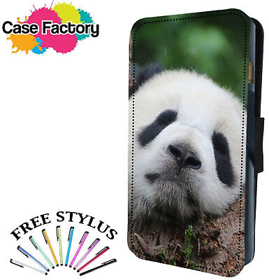 CUTE GRUMPY CUDDLY PANDA BEAR - Leather Flip Wallet Phone Case Cover