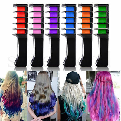 6pcs Hair Chalk Comb Temporary Hair Colour Dye Salon Kits Party Fans Cosplay Set