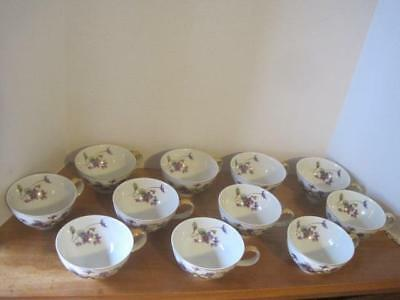 "Meito Norleans China ""Adele"" Violets Pattern Set of 11 Tea Coffee Cups"