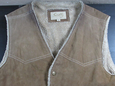 Men's SCULLY Sherpa Lined Beige Suede Leather Snap Vest Cowboy Western L 118