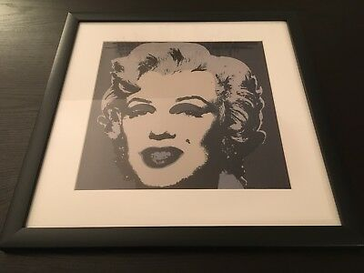 "Andy Warhol Marilyn Monroe gray framed canvas print giclee 11""X11"" reproduction"