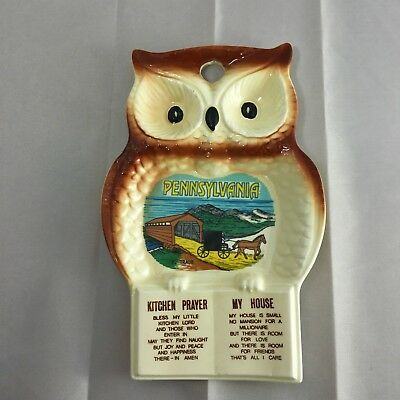 VTG Owl Spoon Rest Souvenir Tray Kitchen Prayer My House Pennsylvania Made Japan