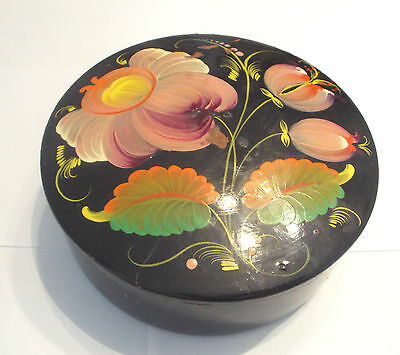 Vintage Rare Beautiful Russian Hand Painting Jewellery Wooden Box /Flowers #296