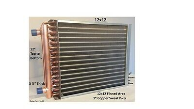 """Water to Air Heat Exchanger 12x12 ~~1"""" Copper Ports w/ EZ Install Front Flange"""