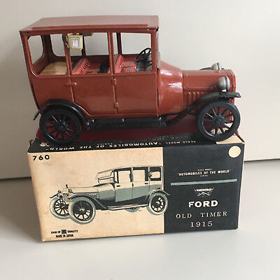 "Bandai Friction, Tin 1915 Ford ""automobiles Of The World"" Series W/box In Rust."