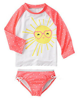 NWT Gymboree Girl Rash Guard SET Sun Polka Dots Swimsuit Swim shop UPF 50+ 8,10