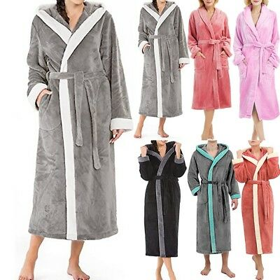 Ladies Fleece Robe Plush Hooded Lengthened Plush Shawl Bathrobe Sleepwear 2019