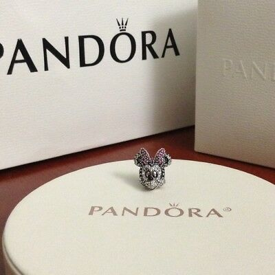Authentic Pandora Disney Sparkling Minnie portrait Charm 791796NCK
