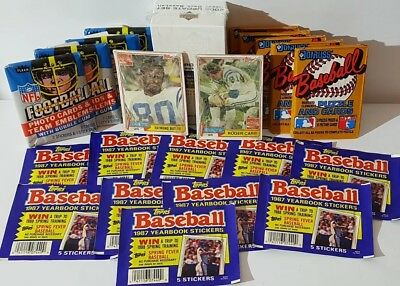 Lot of 22 Unopened Old Vintage Baseball & Football Card Factory Sealed Packs