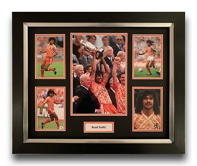 Ruud Gullit Hand Signed Framed Photo Display Holland Autograph 1.