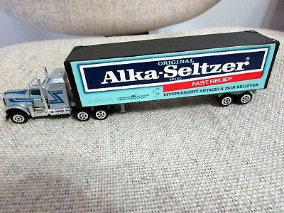 """Alka Seltzer Collectible Truck, Tractor-Trailer, 8 1/2"""" L, 2"""" H, Silver Cab"""