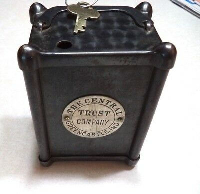 Lodi Co. Handle Coin Bank Central Trust Co. Greencastle, Indiana  W/key Antique