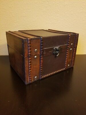 Vintage Wooden Antique Style Treasure Chest Storage Box Home or Nautical Decor