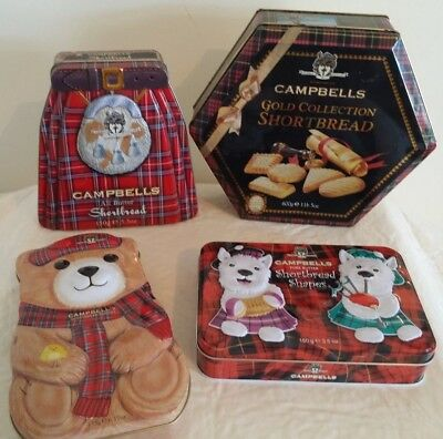 4 x Campbell's Biscuit Tins (postage OK)