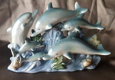 Dolphin Figurines Porcelain Ceramic Blue Waves Statue Figurine 6 Dolphins Playin