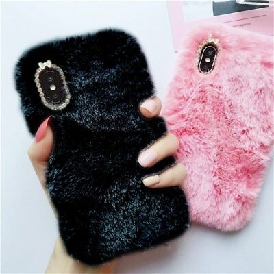 Luxury Warm Soft Furry Rabbit Fur Diamond Back Case Cover For iPhone EO#
