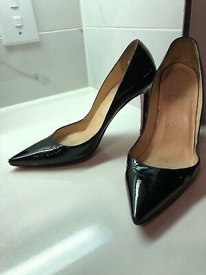 newest f83a3 dd772 CHRISTIAN LOUBOUTIN PIGALLE Heels 100mm Black Leather Pump Sz 36.5 Pre-Owned