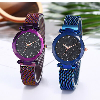 Luxury Watch Starry Sky Diamond Dial Women Bracelet Watches Magnetic Stainless
