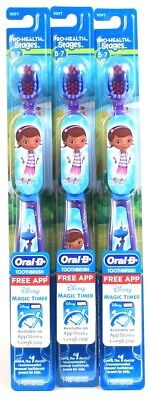 3 Purple Blue Doc Mcstuffins Oral B Pro Health Stages 5 To 7 Yrs Soft Toothbrush