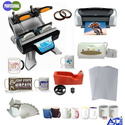 110V Double Station Mug Heat Press Machine Epson Printer CISS Sublimation Paper