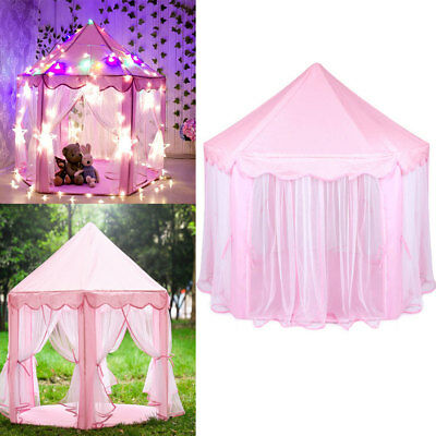 Princess Castle Play House Large Indoor/Outdoor Kids Play Tent &String Lights US