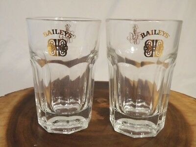 LIBBEY Dura Tuff Etched Glassware ~ 2 BAILEYS IRISH CREAM Logo Drinking Glasses