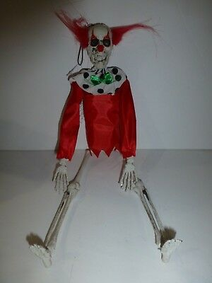 """Halloween Poseable Hanging Skeleton Clown Red Hair Plastic Decoration New 16"""""""