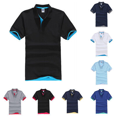 Mens Classic Short Sleeve Summer Golf Polo Shirts Solid T-Shirt Casual Tops Tee
