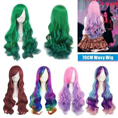 Women Long Anime Full Hair Wigs Rainbow Curly Wavy Straight Deluxe Wig