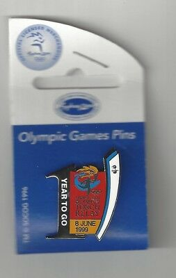 OLYMPIC PIN BADGE SYDNEY 2000 torch relay 1 year to go