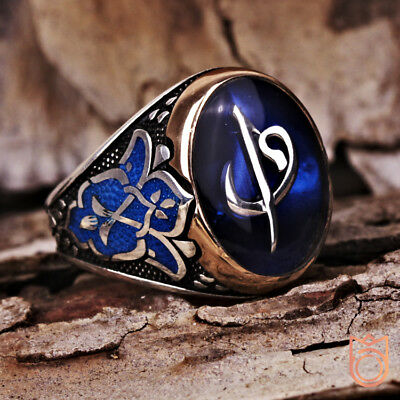 Mens Arabic Letter Ring Unique Islamic Muslim Rings For Man Size Alif Waw Design