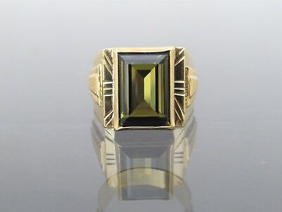 18K Solid Yellow Gold Smoky Topaz Men's Ring Size 9.5