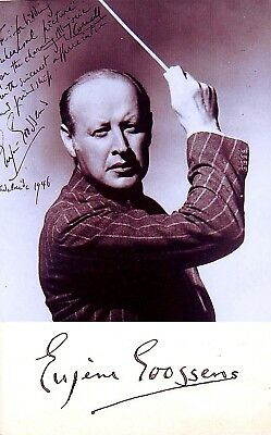 COMPOSER Conductor EUGENE GOOSSENS Hand SIGNED AUTOGRAPH +PHOTO +DECORATIVE MAT