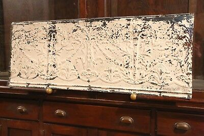 """Antique Metal Tin Ceiling Tile 48"""" X 18"""" shabby chic Sheet Panel Reclaim Salvage"""