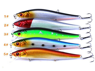 14cm/23g Minnow Fishing Lures Bass Crankbait 4# Hooks Tackle Crank Baits 5 Pack