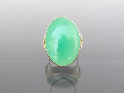 18K Solid Yellow Gold Oval Green Jadeite Jade Ring Size 6.5