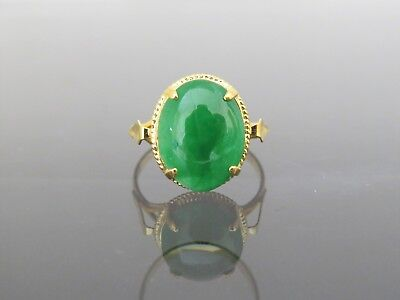 18K Solid Yellow Gold Oval Green Jadeite Jade Ring Size 8.5
