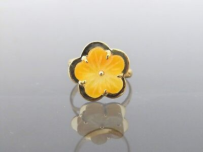 Vintage 18K Solid Yellow Gold Carved Flower Yellow Jadeite Jade Ring Size 7.5