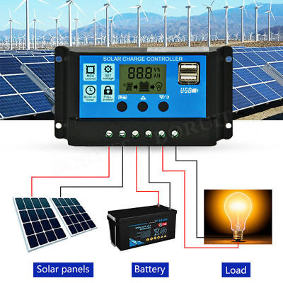 PWM Solar Charge Controller 12V/24V Regulator LCD Display Charger Send From USA