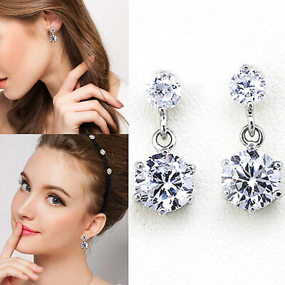 925 Sterling Silver Women Earrings Dangle Crystal Rhinestone Ear Stud Drop Round