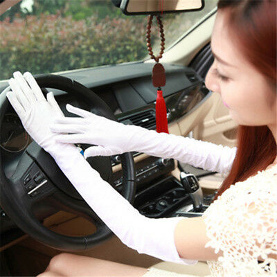 1Pair of Long Glove Classic Satin Elbow Length Gloves for Women White WE9X