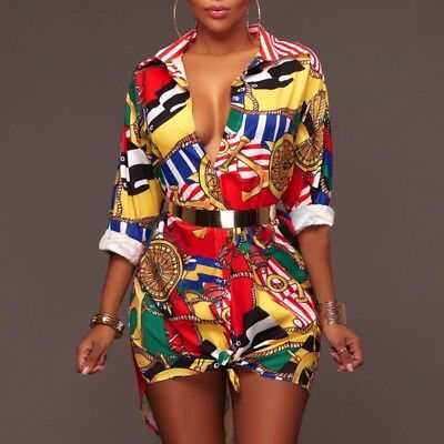 Lady Traditional African Dashiki Short Mini Dress Party Hippie Blouse Shirt Top